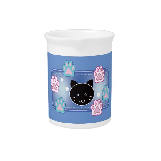 Cute cat and paw pads (blue) ピッチャー