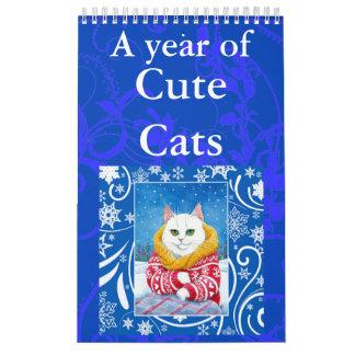 Cute Cat art illustrations calendar カレンダー