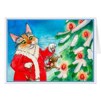Cute cat, mice, Christmas tree greeting card カード