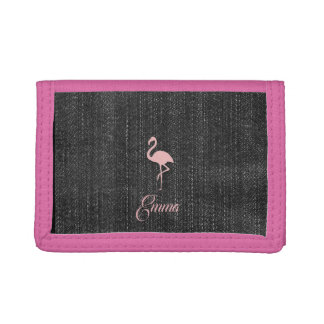 Cute Chic Pink Flamingo Denim Look Wallet
