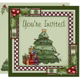 Cute Christmas Tree Holiday Party Invitation カード
