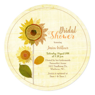 Cute Collage Sunflowers Bridal Shower Invitation カード