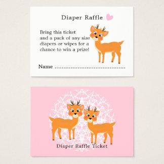 Cute Deer Hearts Winter Baby Shower Diaper Raffle 名刺