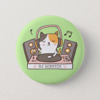 Cute DJ Scratch Kitty Cat Button 5.7cm 丸型バッジ