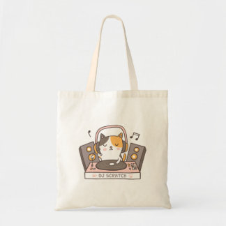 Cute DJ Scratch Kitty Cat Pun Humor Tote Bag トートバッグ