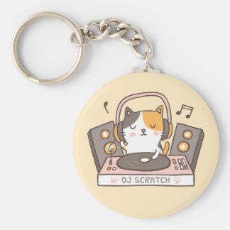 Cute DJ Scratch Kitty Cat Pun Keychain キーホルダー