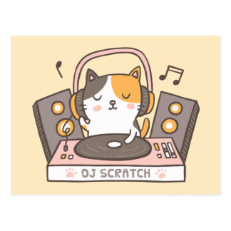Cute DJ Scratch Kitty Cat Pun Postcard ポストカード
