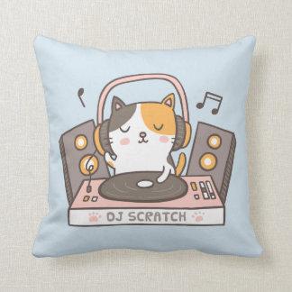 Cute DJ Scratch Kitty Cat Throw Pillow クッション
