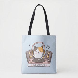 Cute DJ Scratch Kitty Cat Tote Bag トートバッグ
