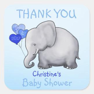 Cute Elephant Blue Boy Baby Shower Thank You Favor スクエアシール