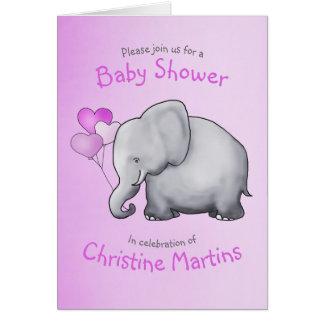 Cute Elephant Pink Girl Baby Shower Invitation カード