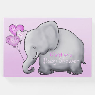 Cute Elephant with Balloons Pink Baby Shower ゲストブック