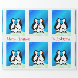 Cute Family of Penguins Christmas ラッピングペーパー