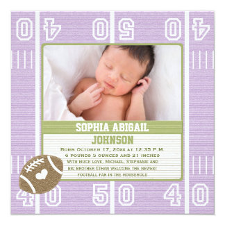 Cute Football Baby Announcement Purple Girl カード