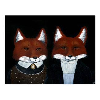 Cute Foxes Folk Art, American Gothic postcard ポストカード