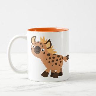 Cute Friendly Cartoon Hyena ツートーンマグカップ