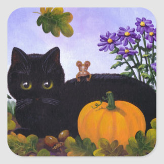 Cute Funny Black Cat Mouse Fall Gift Creationarts スクエアシール