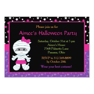 Cute Girl Mummy Halloween Party Invitation カード