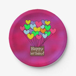 Cute Happy birthday Hearts Design Fuchsia ペーパープレート