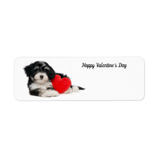 Cute Happy Valentine's Day Puppy ラベル