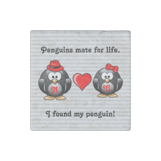 Cute I Found My Penguin Mate for Life Red Heart ストーンマグネット