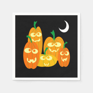 Cute Jackolantern Pumpkins Cartoon Halloween Party スタンダードカクテルナプキン