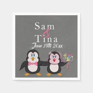 Cute penguin & chalkboard wedding napkins スタンダードカクテルナプキン