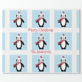 Cute Penguin in a Santa Hat Christmas ラッピングペーパー