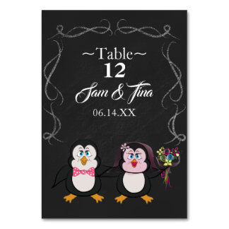 cute penguin wedding table number カード