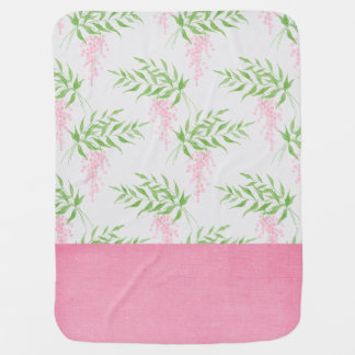 Cute Pink and Green Floral Baby Blanket ベビー ブランケット