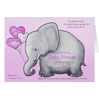 Cute Pink Balloons Elephant Baby Shower Invitation カード
