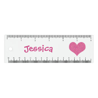 Cute Pink Heart Personalized Girly Name 定規