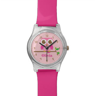 Cute Pink Owl On Branch Girls Name Watch 腕時計