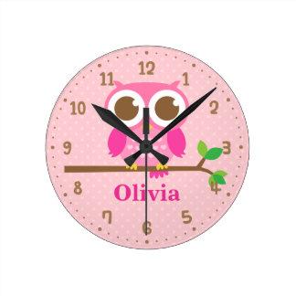 Cute Pink Owl on Branch Girls Wall Decor Clock ラウンド壁時計