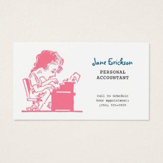Cute Pink Retro Caricature Woman Accountant 名刺