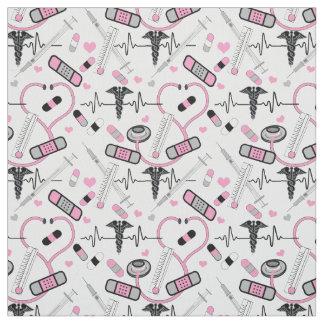 Cute Pink Stethoscope Nurse | Doctor EKG Pattern ファブリック