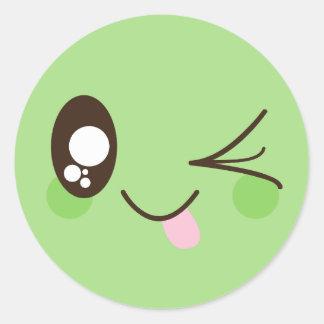 Cute Pistachio Green Kawaii Smiley Face ラウンドシール