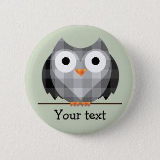 Cute Plaid Gray Horned Owl Illustration 5.7cm 丸型バッジ