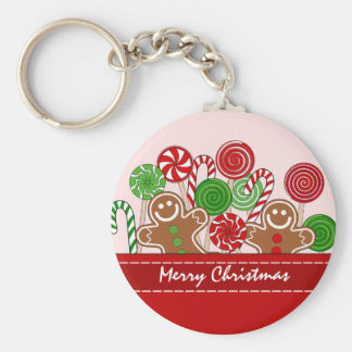 Cute red Christmas gingerbreads キーホルダー