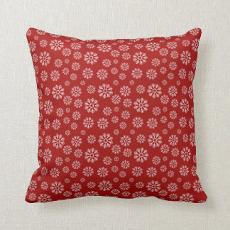 Cute Red Holiday Snowflakes Pattern Winter クッション