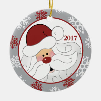 Cute Santa Claus Holiday Ornament - Add the Year セラミックオーナメント