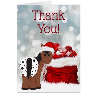 Cute Santa Horse and Gifts Holiday Thank You カード