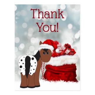 Cute Santa Horse and Gifts Holiday Thank You ポストカード