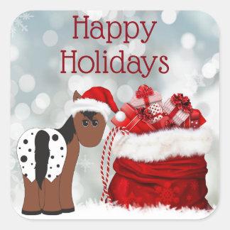 Cute Santa Horse n Gifts Happy Holidays Christmas スクエアシール