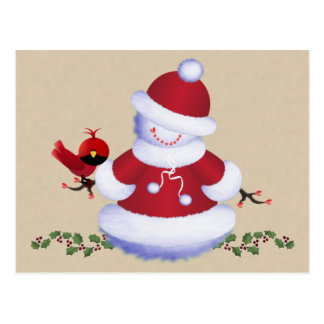 Cute Snowman Postcard with Bird for Kids, Holiday ポストカード