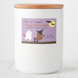 Cute Trick Or Tweet Birdies Halloween フードラベル