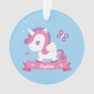 Cute Unicorn with Wings Girls Name Ornament オーナメント