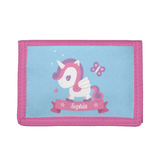 Cute Unicorn with Wings Girls Personalized Wallet