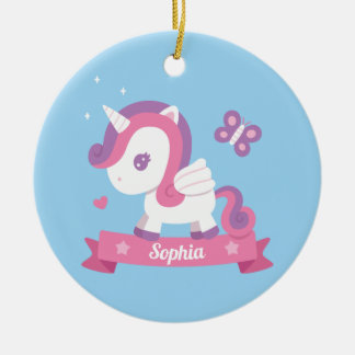 Cute Unicorn with Wings Kids Personalized Ornament セラミックオーナメント