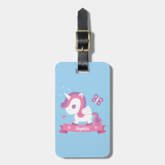 Cute Unicorn with Wings Personalized Luggage Tag ラゲッジタグ